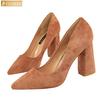 Square Heel Fashion Women Pumps 2018 New Concise Solid Flock Shallow Pointed Toe Women's Office Shoes Show Thin High Heels Shoes