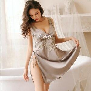 Image 5 - חדש נשי סימולציה משי עמוק V צוואר סקסי שינה לילה שמלה אלגנטית Homewear ארוך כתונת לילה הלבשת נשים Nightwear