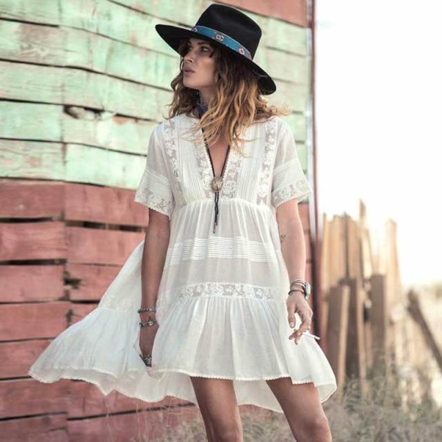 ee08584c3695 Casual Loose Fit Summer Dress women white cotton mini dresses Vneck  embroidery Lace fashion bohemian style hippy gypsy girl new