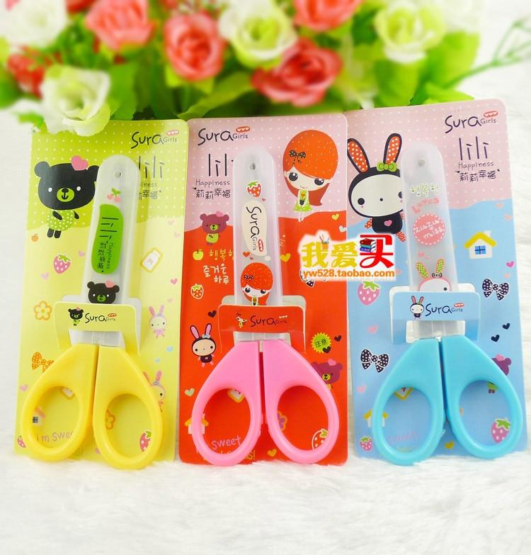 2 pcs  lot new children safe small scissors pupils handmade DIY tailoring safety plastic cartoon student small scissors