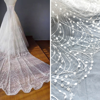 1M Lace Fabric Sequins Nigerian French Trim Bling Bling Lace Accessories 2019 High Quality African Tulle Lace Fabric Hot Selling