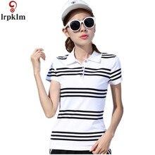 M XXL Brand Clothing 2017 Summer Women Polo Shirt Female Short Sleeve Lapel Striped Casual White