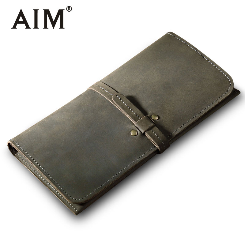 AIM New Men's Genuine Cowhide Leather Wallet High Quality Vintage Crazy Horse Long Purse Men Brand Coin Purse Card Holder A321 crazy horse leather men wallet slim vintage genuine leather long purse cowhide bifold wallets with coin pocket and card holders