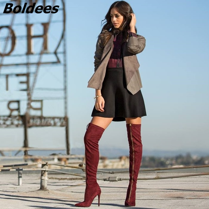 Glamorous Burgundy Suede Zip Decorated Thigh High Boots Women Sexy Slim Fit Pointy Stiletto Heel Over Knee High Boots Fashion