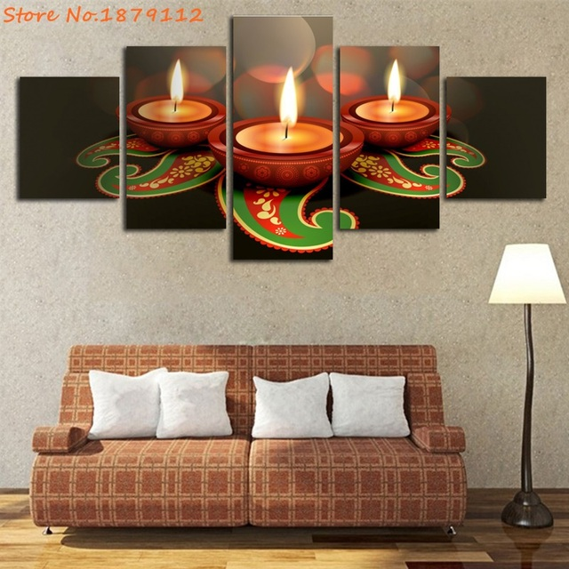 Marvelous Modular Pictures Animated Clay Lamps Diwali Wall Art Home Decor Poster 5  Pieces Canvas No Frame