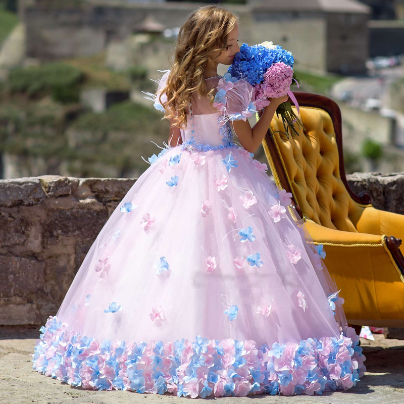 princess fluffy dress for girls pageant dress floral kids evening ball gown  long girls prom dress pink party dress for girls-in Dresses from Mother    Kids ... 92612ae9f279