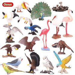 Oenux Original Bird Paradise Flamingos Macaw Sea Gull Pelican Snowy Owl Figurines High Quality PVC Animals Action Figure Kid Toy