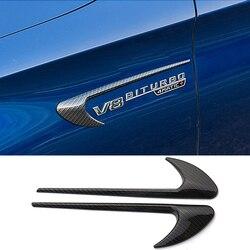 2 sztuk Fender naklejka z Logo 3D V8 BITURBO Logo dla Mercedes Benz AMG A B C E S klasa CLA W220 w221 W211 W212 W205 GLE samochód stylizacji