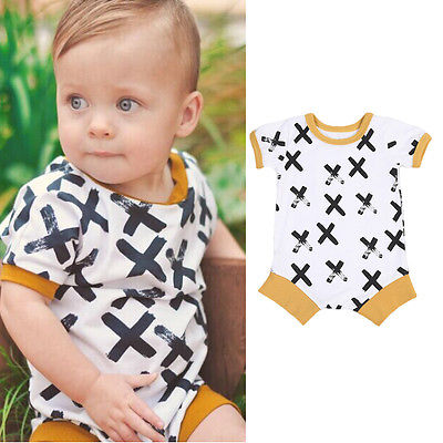 Cotton Newborn Baby Boy Girl One Piece Clothes Kids Short Sleeve Cross Print Rompers Jumpsuit Infant Clothing 0-24M 3pcs set newborn infant baby boy girl clothes 2017 summer short sleeve leopard floral romper bodysuit headband shoes outfits