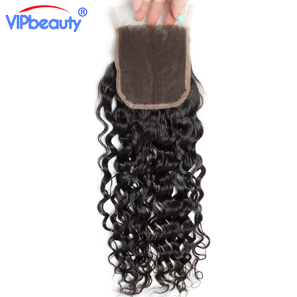 Vip Beauty Brazilian Water Wave Remy Hair 4x4 Lace Closure Free Part 100% Human Hair Closure Natural Color 12-18 Inch
