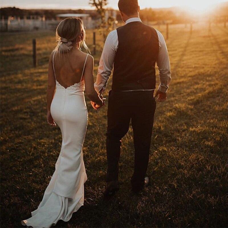 Сексуальные свадебные платья Русалочки с v образным вырезом на бретельках, атласные аппликации без рукавов, свадебные платья без спинки, 2019 - 2