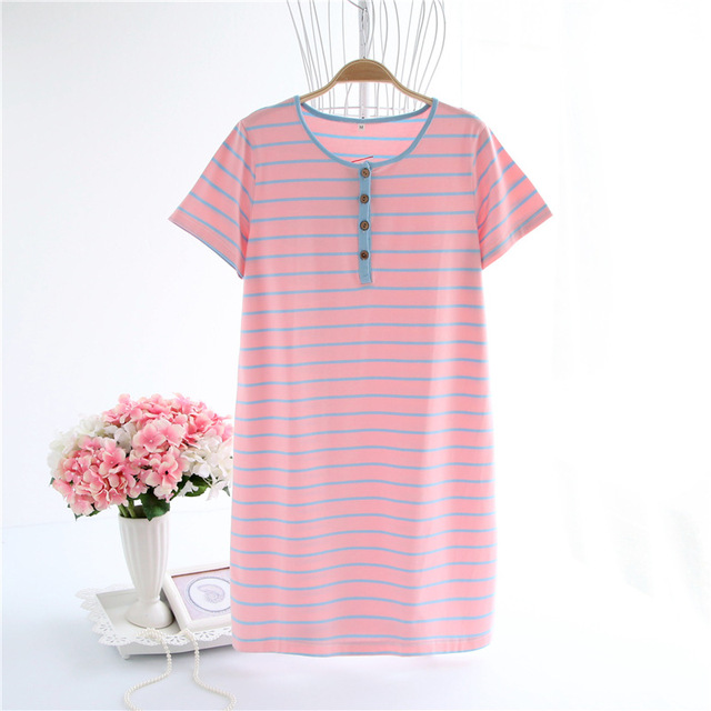 Women\'s Nightgown Female Cotton Night Dress Button Top Homemade ...