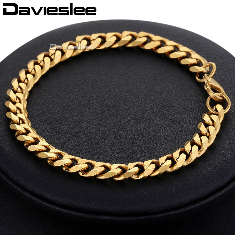 Bracelet for Men Women Curb Cuban Link Chain Stainless Steel Mens Womens Bracelets Chains Davieslee Jewelry for Men DLKBM05