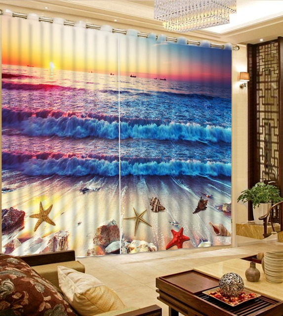 Cool Beautiful 3D Kitchen Curtains Sea Beach Shell Seaside Modern Fashion Curtain For Living Room Bedroom