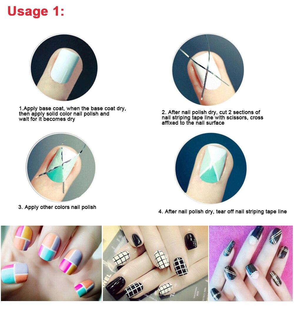ᗚPooypoot New Fashion Nail Sticker 10Pcs Mixed Colors Nail Rolls ...