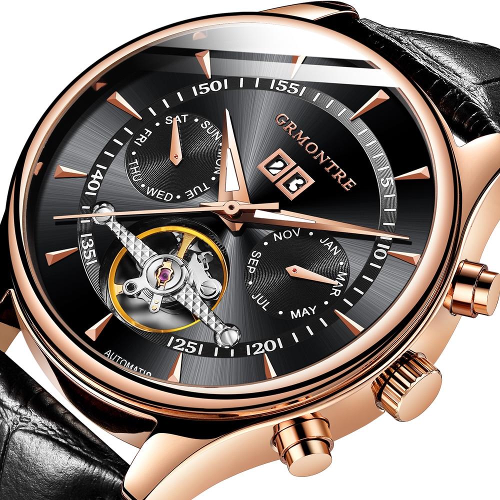 Relogio Masculino อัตโนมัตินาฬิกาผู้ชาย Skeleton นาฬิกาแฟชั่นสีดำนาฬิกา erkek kol saati reloj hombre GRMONTRE-ใน นาฬิกาข้อมือกลไก จาก นาฬิกาข้อมือ บน   1