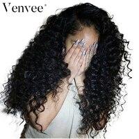 180 плотность вьющиеся парик предварительно сорвал с ребенком волос бразильского человеческих волос парики для Для женщин Venvee Remy натуральны