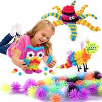 400/800 pièces boule d'épine bricolage assemblage jouets boule de bouffant magique enfants blocs de construction créatifs pressés jouet éducatif fait main