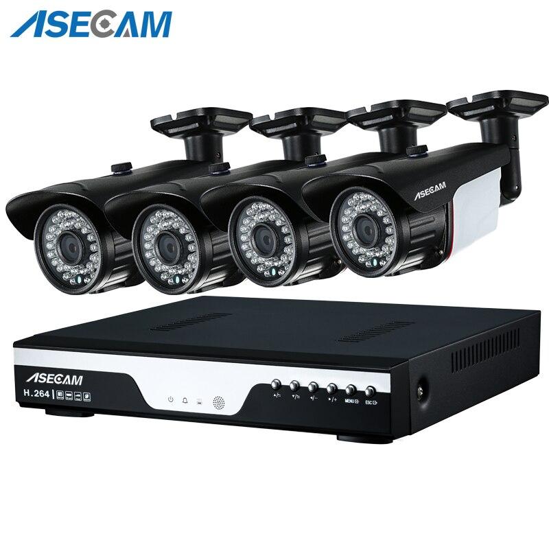 Nova 4ch Super 4MP HD AHD CCTV Camera DVR Gravador de Vídeo Ao Ar Livre Preto Bala Kit Sistema de Câmera de Vigilância de Segurança de E-mail alerta