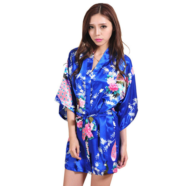 New Arrival Blue Female Printed Floral Kimono Dress Gown Chinese Style  Rayon Robe Nightgown Flower S M L XL XXL XXXL 20160413 0f39a4869