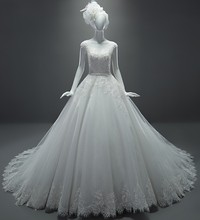 Real Sample Wedding Dresses A-Line See Through Cap Sleeves Sash Chapel Train Lace Dress Vestido De Casamento 2015 MK-29
