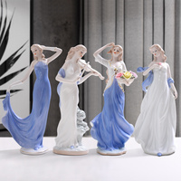 Western Female Characters Girls Lady Home Decor Ceramic Figurines Art Crafts Coffee Bar Porcelain Ornament Wedding