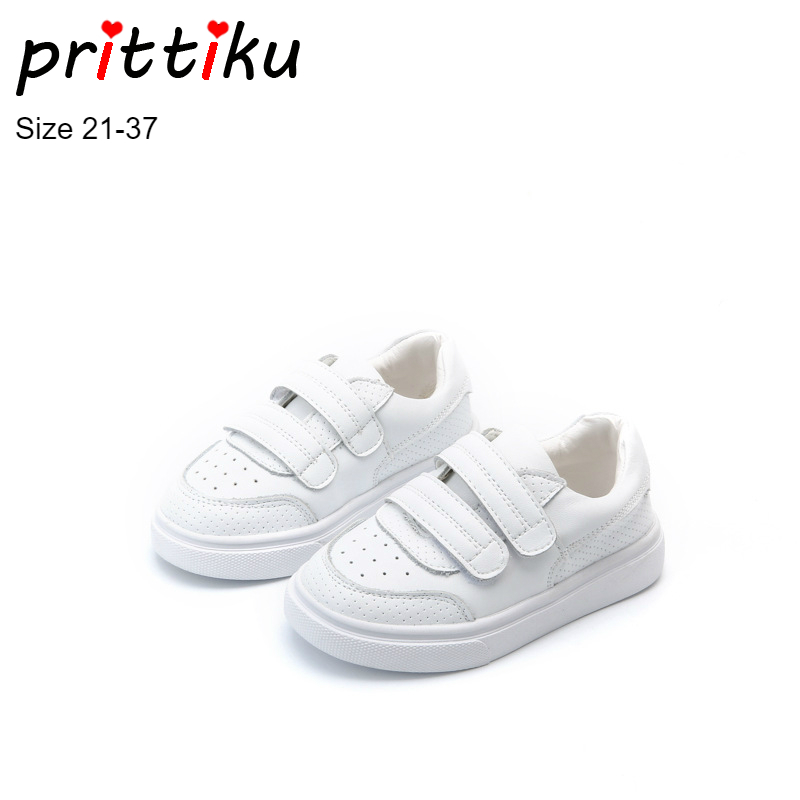 0f0e1e7a9 Boys Girls Classic White Genuine Leather Sneakers Children School ...
