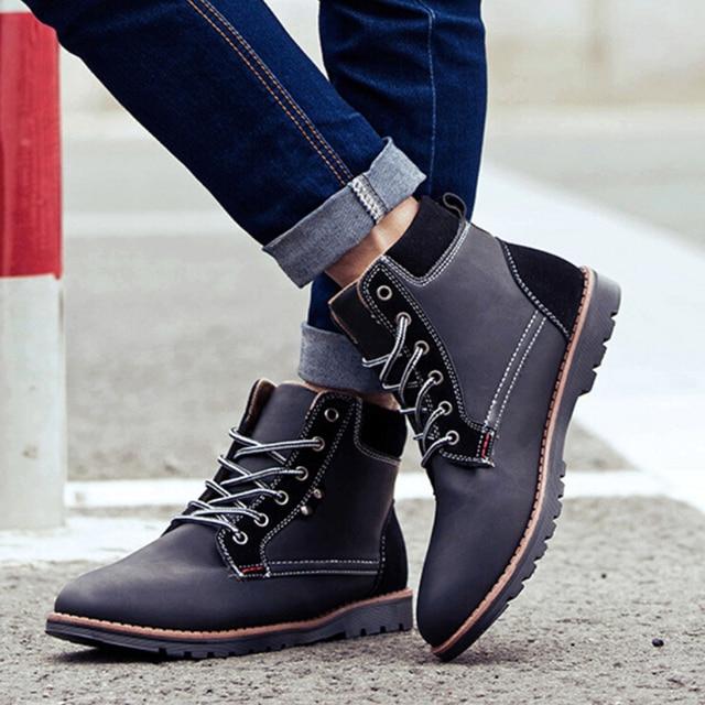 2016 зимние сапоги плюс хлопок мужская повседневная теплые водонепроницаемые ботинки лоскутное ПУ нубука кожаные ботинки для человека свободного доставка