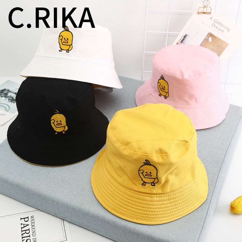 2019 Men Women Little Yellow Duck Two Side Bucket Hat Bob Boys Girls Fashion Hip Hop Summer Sun Visor Fisherman Hat Panama(China)