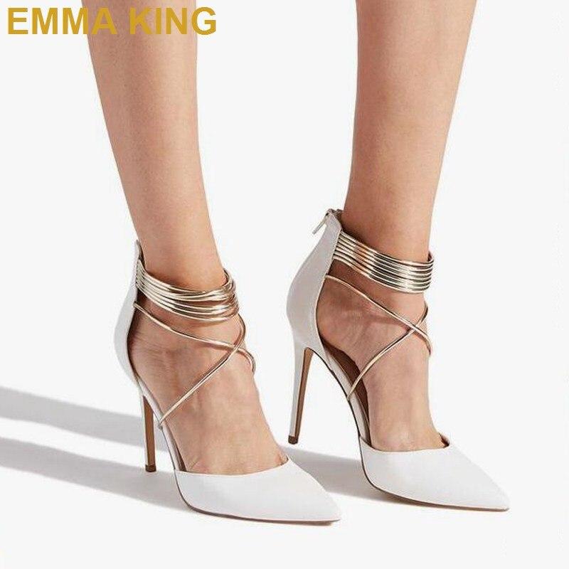 Moda mujer tacones blancos puntiagudos tacones altos de tiras zapatos de verano Sexy señoras zapatos fiesta baile de graduación Stilettos - 3
