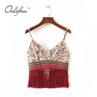 Ordifree 2018 Summer Women Tank Top Vest Sexy Crop Top Vintage Traditional Floral Print Tassel Tank