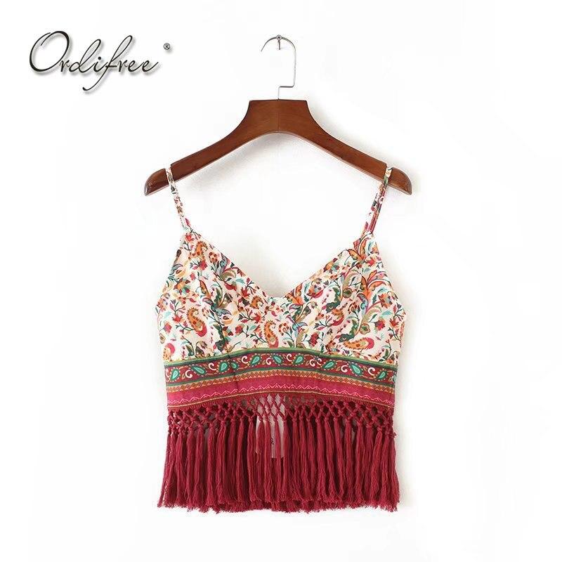 Ordifree 2018 Summer Women Tank Top Vest Sexy Crop Top Vintage