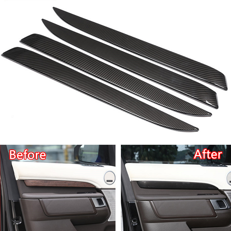YAQUICKA Carbon Fiber Style 4x Car Interior Door Side Panel Cover Strips Trim For Land Rover Discovery 5 2017 Car-styling Covers yaquicka carbon fiber style 4x car interior door side panel cover strips trim for land rover discovery 5 2017 car styling covers