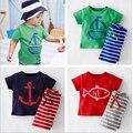 2017 Novos meninos do bebê meninas conjuntos de roupas de verão Corsair padrões de peixe Crianças T-shirt + pant 2 pçs/set crianças roupas conjuntos