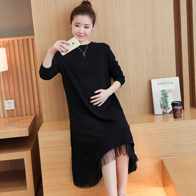 a424de03849ef US $21.24 15% OFF|Fashion Soft Knitted Cotton Maternity Dress Autumn &  Winter Clothes for Pregnant Women Pregnancy Clothing Women Pregnant  Dress-in ...