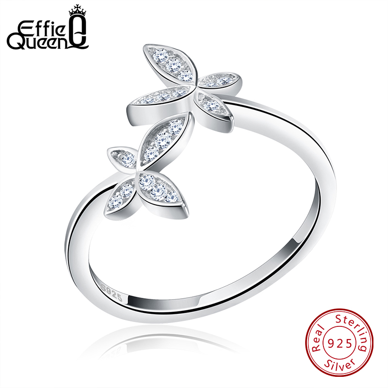 Effie Queen Genuine 925 Sterling Silver Flower Ring For Women Men Wedding Butterfly Design Adjustable Size Finger Rings BR10