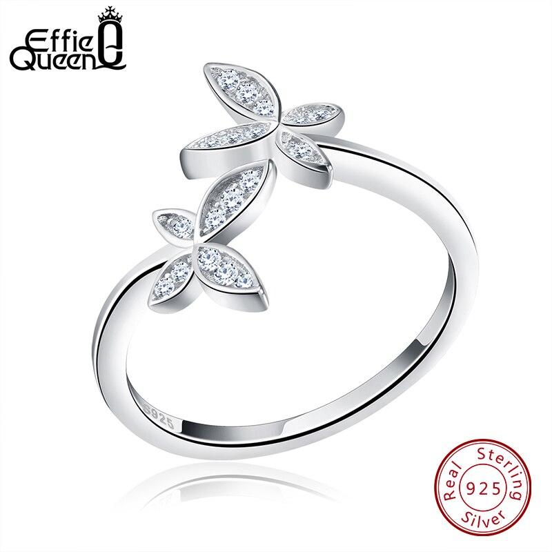 49dd6eec0337 Effie reina genuino 925 plata esterlina flor anillo para los hombres y las  mujeres de la boda diseño de la mariposa tamaño ajustable anillos de dedo  BR10