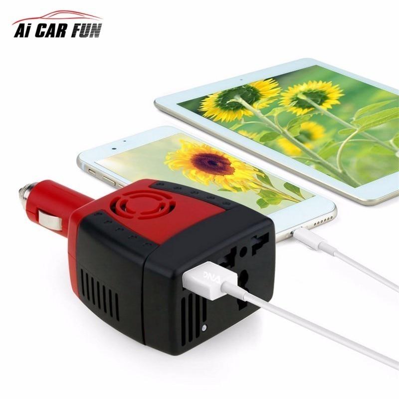 цена на DC 12 V - AC 220 V Car inverter USB Power Supply Laptop Mobile Phone Charger Universal Socket 150W 2100mA Converter Transformer