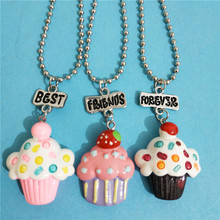 Cute 3 Pcs/lot BFF Ice Cream Necklace Set for Kids Girls Letter Best Friends Forever Wholesale Collares Candy Color Jewellery