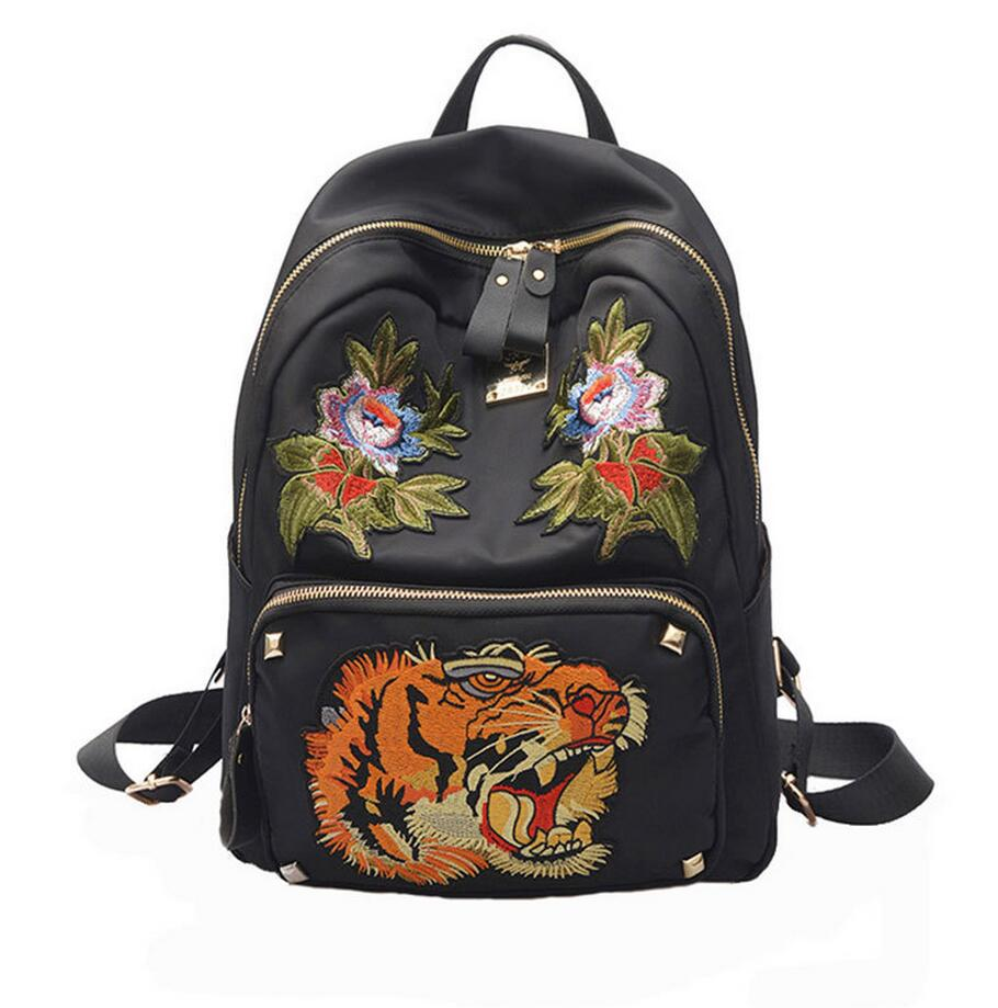 2017 Street Backpacks Women Embroidery Flower Tiger Backpacks For Teenage Girls Fashion Casual Travel School Bags
