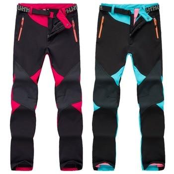 цена NUONEKO Women's Winter Softshell Ski Pants Warm Fleece Waterproof Trousers Outdoor Trekking Mountain Climbing Hiking Pants PM30 онлайн в 2017 году