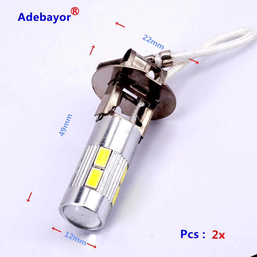 2x H3 10 SMD 5630 светодиодный Авто Стоматологическая лампа противотуманная фара парковочный сигнал свет фар Светодиодные лампы 12 V белого цвета; оптовая продажа; Бесплатная доставка
