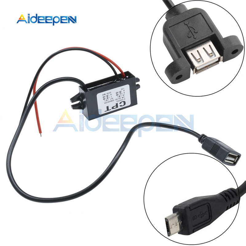 Micro USB <font><b>DC</b></font> <font><b>12V</b></font> to <font><b>DC</b></font> <font><b>5V</b></font> <font><b>3A</b></font> 15W Auto Car Power Converter Regulator Adapter For Car DVR GPS Vehicle Electronics Power Supply image