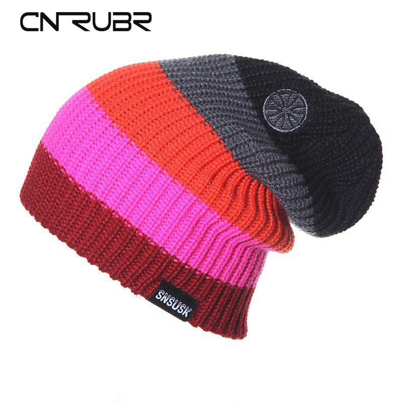 CN-RUBR High Quality Casual  Hat Winter Snowboard Skating Unisex Caps Warm Patchwork Knitting Beanies Christmas Skullies cn rubr high quality casual hat winter skating unisex caps warm dot knitting beanies christmas gifts for women men