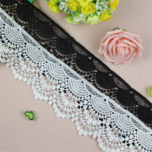 9 CM Wide White And Black Water Soluble Milk Ribbon Hollow Lace Trim Fabric For Sewing Accessory Bridal Wedding Dress DIY Crafts