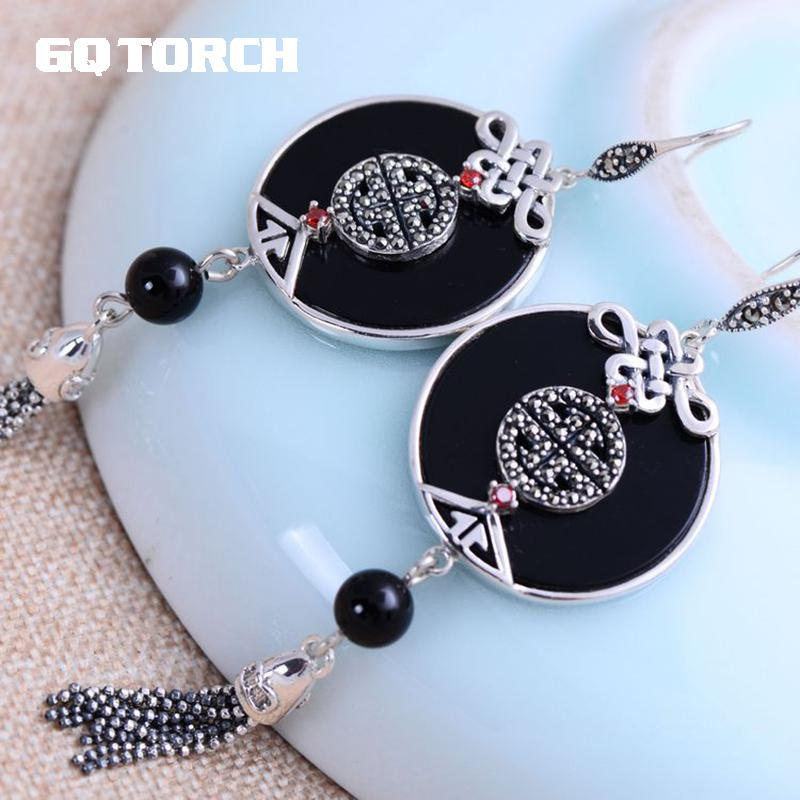 GQTORCH 925 Sterling Silver Tassel Earrings With Truelove Knot Exquisite Natural Black Onyx Stone Ethnic Style