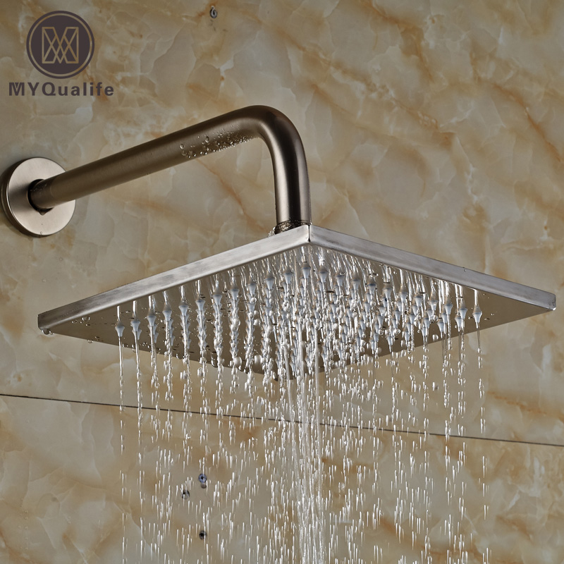 Wall Mount Brushed Nickel 10 Square Rain Shower Head + Shower Arm 30cm