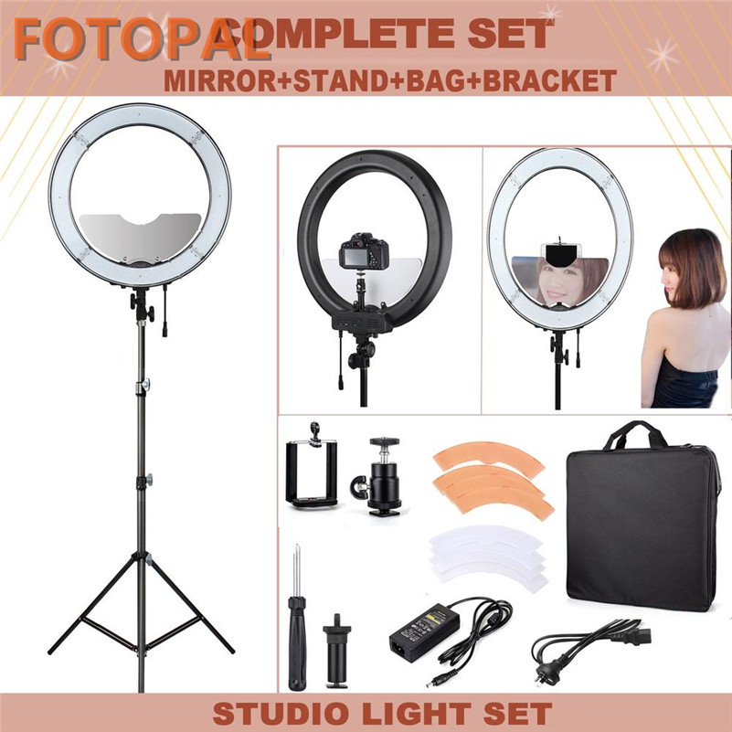Fotopal 18 Annular Lamp 240 LED Photographic Lighting Dimmable Camera Photo/Studio/Phone/Video Selfie Ring Light Tripod Stand