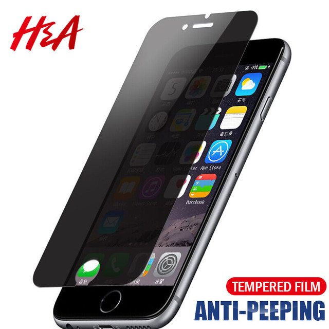 H&A Privacy Screen Protector For iPhone 7 6 6S Plus 5 5s Privacy Explosion-Proof Tempered Glass For iPhone 8 7 Protective Glass