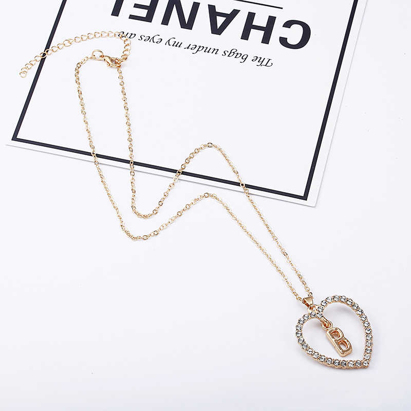 a3bc16037 ... 2018 Simple Gold Color Love Heart Necklaces & Pendants Double  Rhinestone Choker Necklace Women Statement Jewelry ...